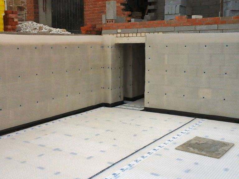 Type C (Drained Protection) Waterproofing Installation showing Cavity Drain Membrane and Sump Chamber.