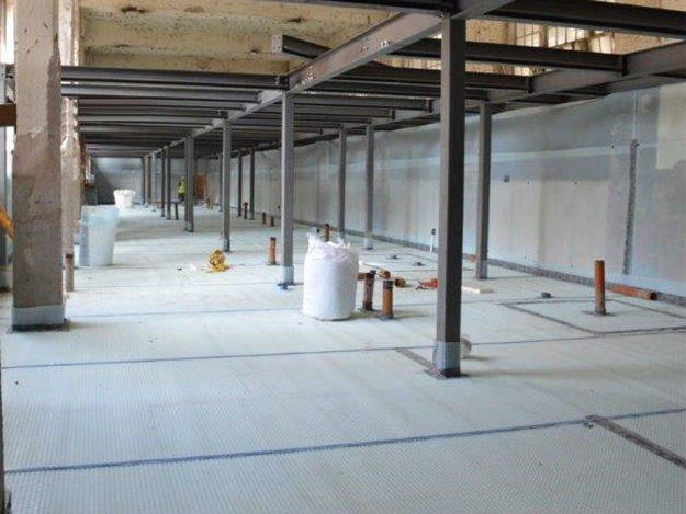 Part of over 3000m2 of Cavity Drain Membrane (Type C Drained Protection) Installed on a Commercial Project.