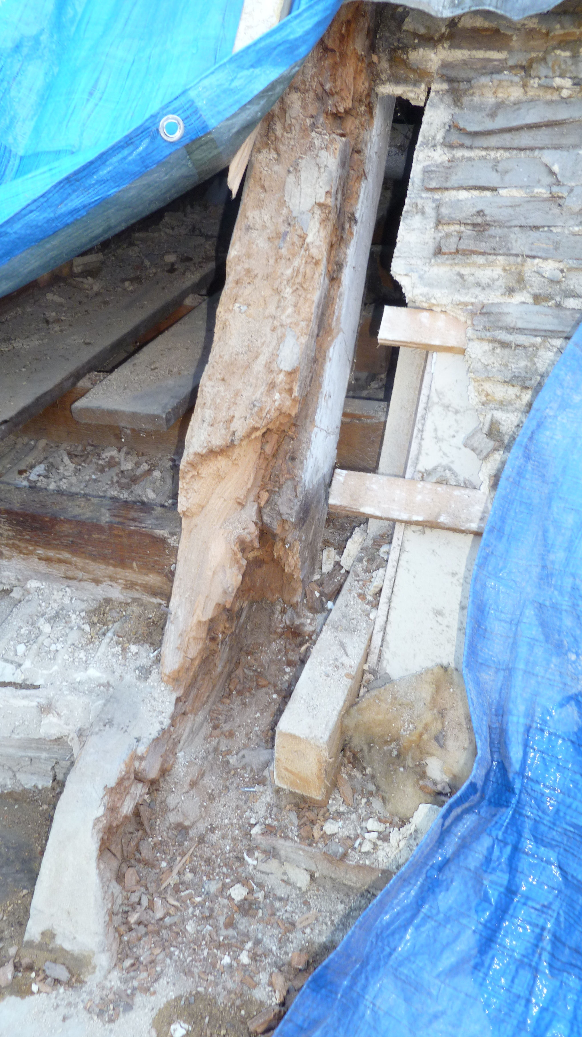 Decayed Truss End Timber in need of repair.