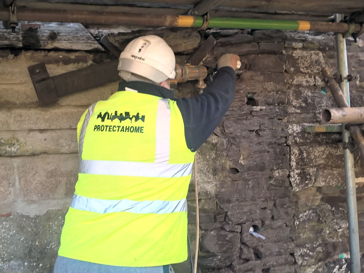 Protectahome Technician Diamond Drilling during Structural Repair Works of Barn Conversion