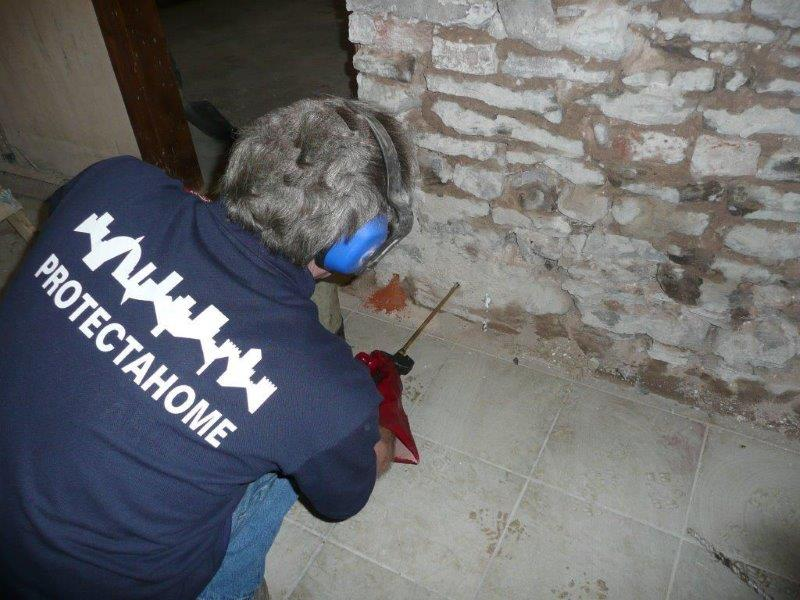 Protectahome Technician During Damp Proof Course Installation