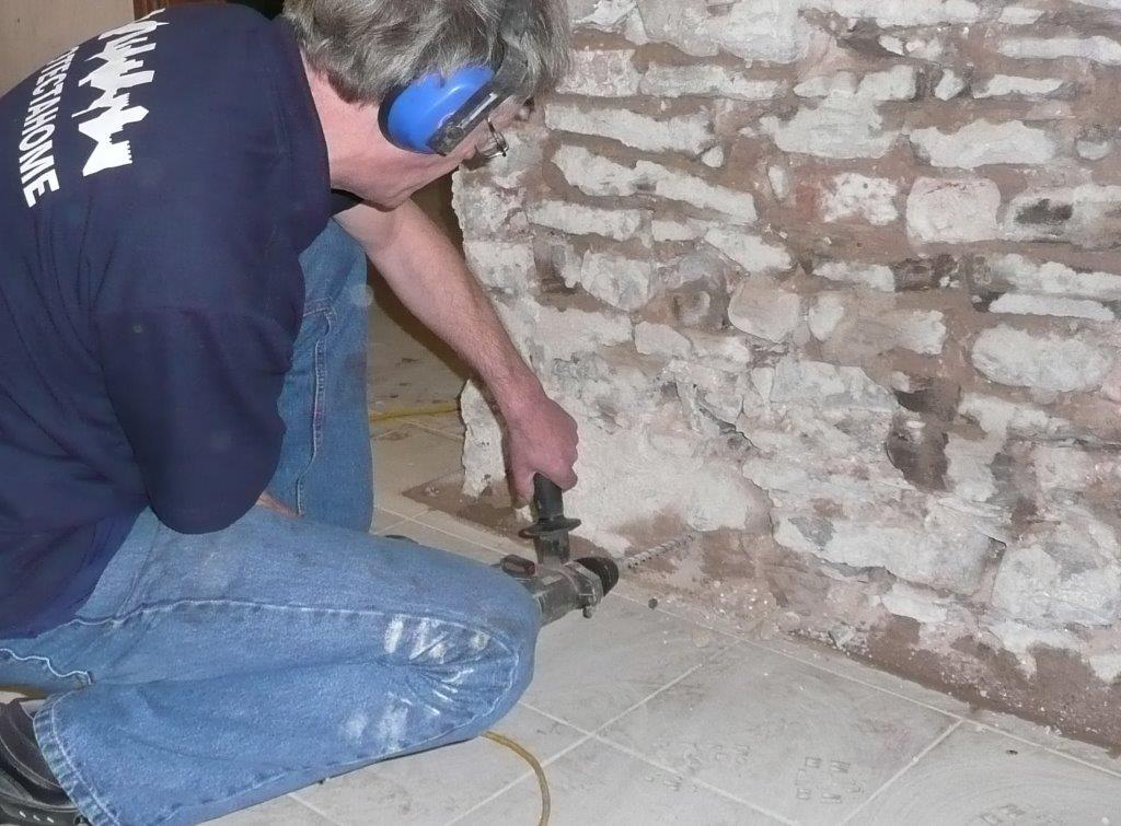 Protectahome Technician Preparing Damp Proof Course Injection