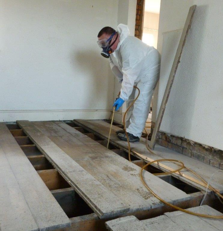 Protectahome Technician Undertaking Timber Spray Treatment