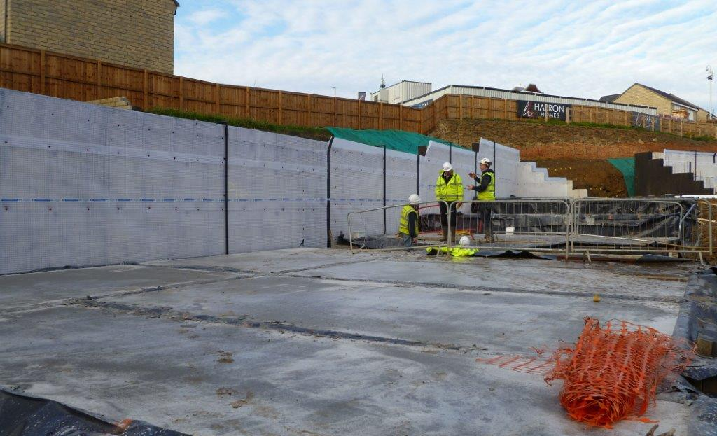 Site Inspection on New Build Project, Membrane installed to Retaining Wall