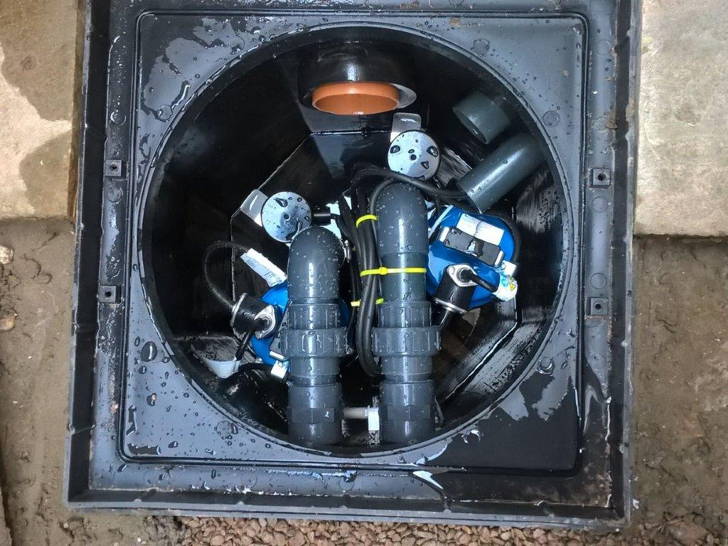 Sump and Twin Pumps Installed as part of a Type C (Drained) Protection System.