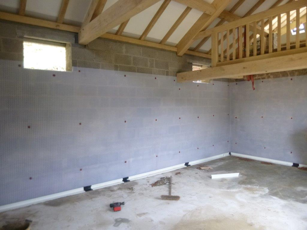 Waterproofing Installation During Barn Conversion