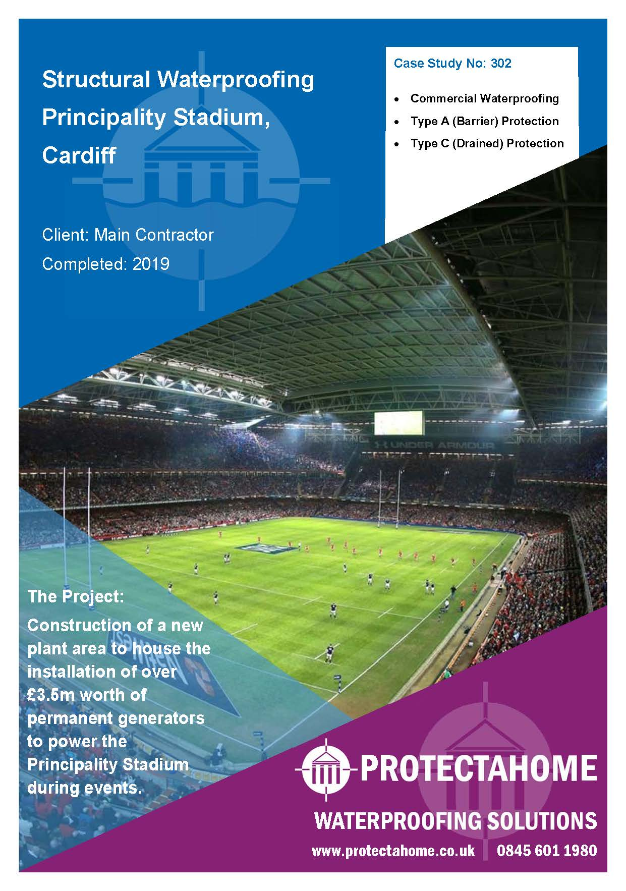 Structural Waterproofing, Principality Stadium, Cardiff