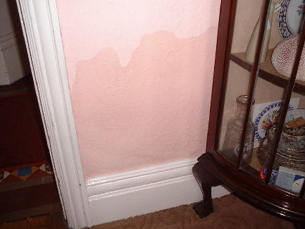 Damp Plaster affected by Rising Damp