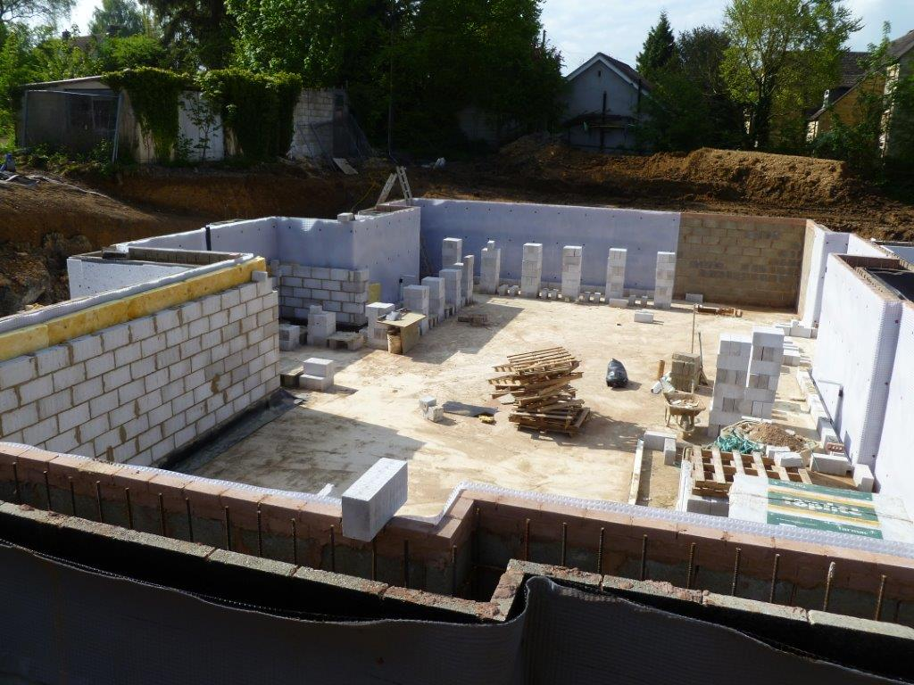Stages of Cavity Drain Membrane, Insulation and Internal Blockwork Installation